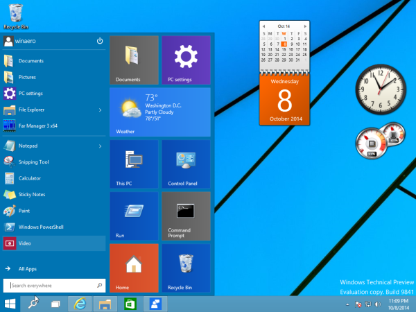 Desktop gadgets and sidebar for Windows 10