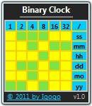 Click to view Binary Clock 2.5 screenshot