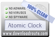 Atomic Clock received 100% CLEAN award on DownloadRoute.com