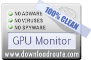 GPU Monitor received 100% CLEAN award on DownloadRoute.com