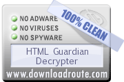 HTML Guardian Decrypter received 100% CLEAN award on DownloadRoute.com