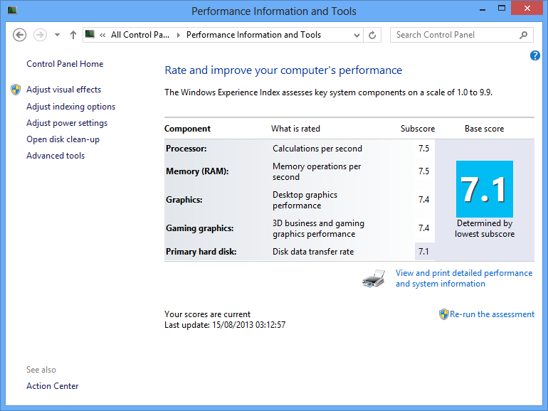 How to get windows experience index wei score in windows for Window ratings