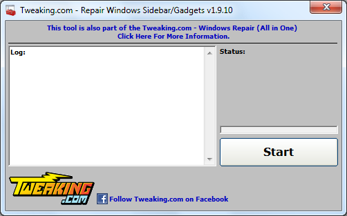 Repair Windows Sidebar & Gadgets tool
