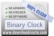 Binary Clock received 100% CLEAN award on DownloadRoute.com