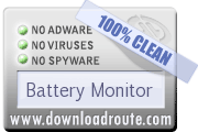 Battery Monitor received 100% CLEAN award on DownloadRoute.com
