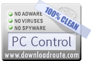 PC Control received 100% CLEAN award on DownloadRoute.com